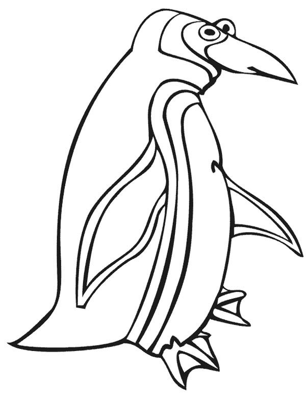 Penguins, : An Artistic Drawing of Penguin Coloring Page