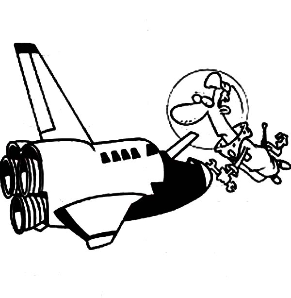 Space Shuttle, : An Astronout Fixing His Space Shuttle Coloring Page