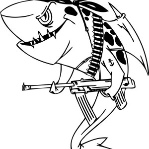 an illustration of pirate shark coloring page - Great White Sharks Coloring Pages