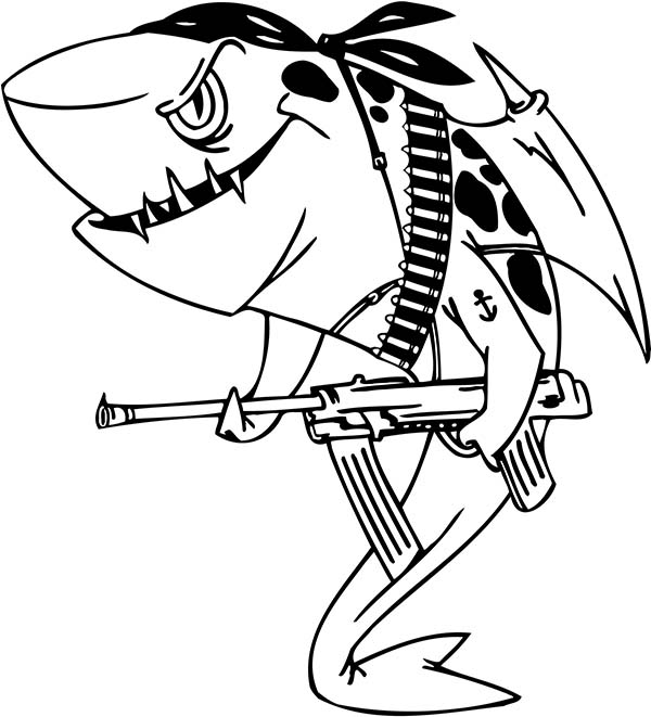 Sharks, : An Illustration of Pirate Shark Coloring Page
