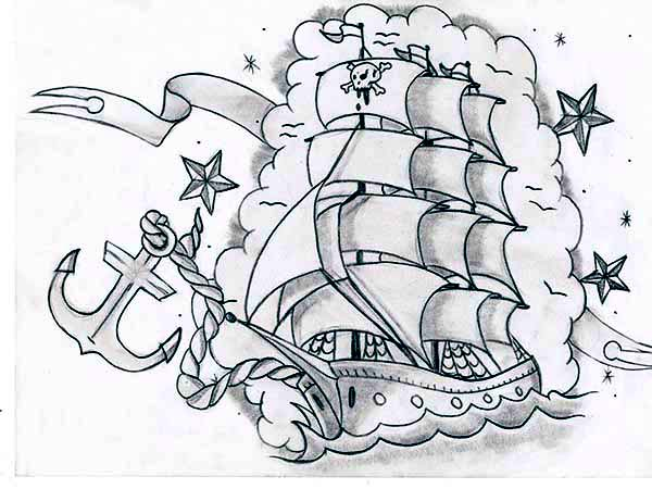 Pirate Ship, : An Illustration of a Pirate Ghost Ship Coloring Page