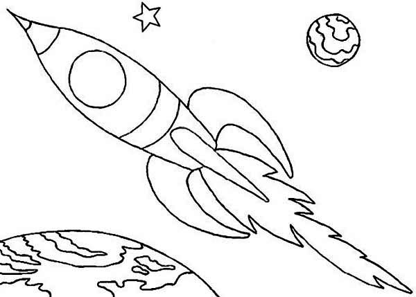 rocket coloring page of a launched rocket. basic  pics of space, printable coloring