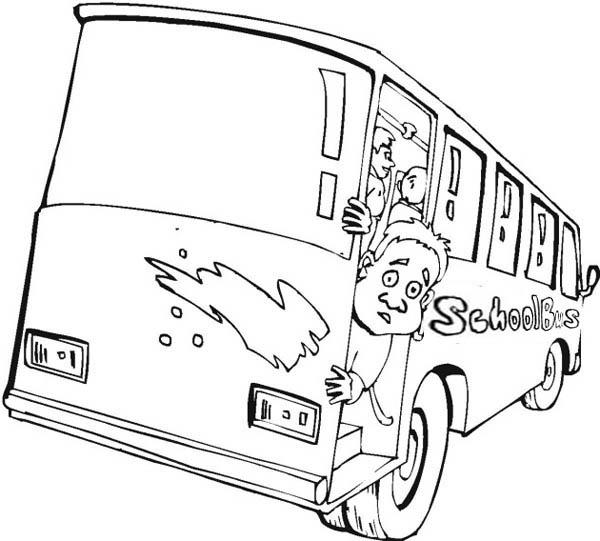 School Bus, : An Unhappy Kid in School Bus Coloring Page