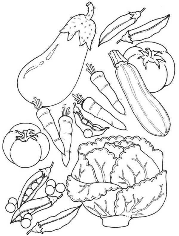 Fruits and Vegetables, : Assorted of Fruits and Vegetables Coloring Page