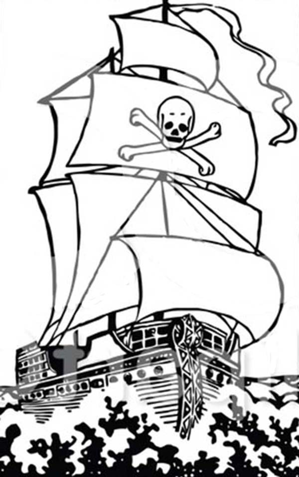 Pirate Ship, : Big Pirate Ship Galleon on the Raging Ocean Coloring Page