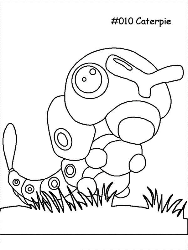 Caterpillars, : Caterpie the Pokemon Caterpillar Coloring Page
