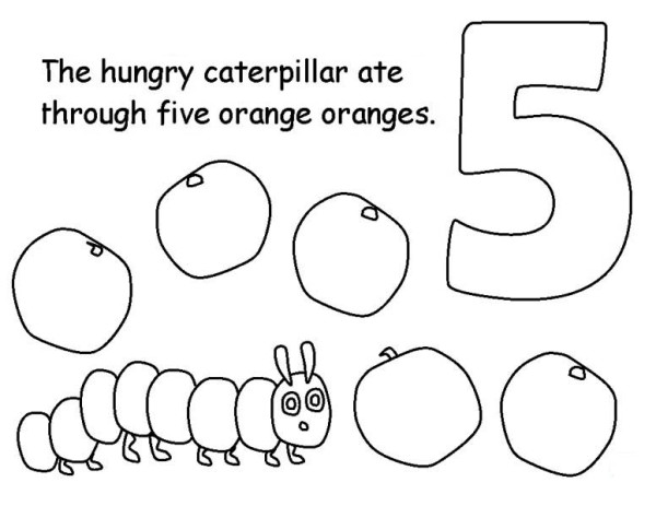 Caterpillars, : Caterpillar Eating Five Oranges Coloring Page