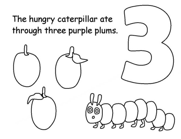 Caterpillars, : Caterpillar Eating Three Plums Coloring Page