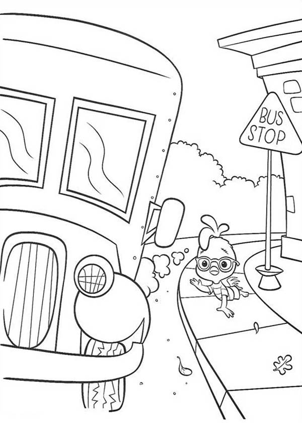 School Bus, : Chicken Little Waiting for a School Bus Coloring Page
