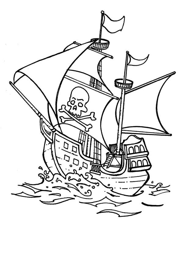 Pirate Ship, : Classic Pirate Ship Caravel Ready to Attack Coloring Page