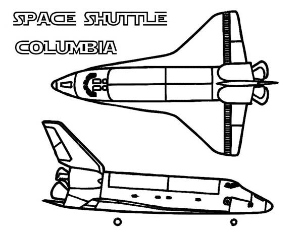 Space Shuttle, : Columbia Space Shuttle from Different Views Coloring Page