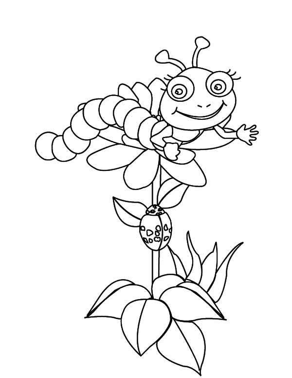 Caterpillars, : Cute Caterpillar Say Hi from the Flowers Top Coloring Page