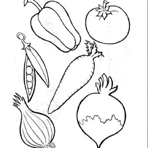 different types of vegetables coloring page