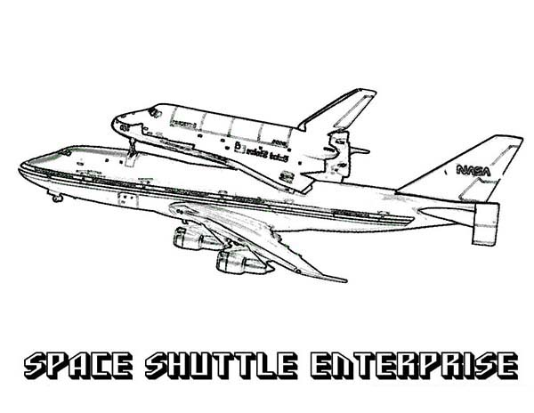 Space Shuttle, : Enterprise Space Shuttle on Tandem Flight Coloring Page