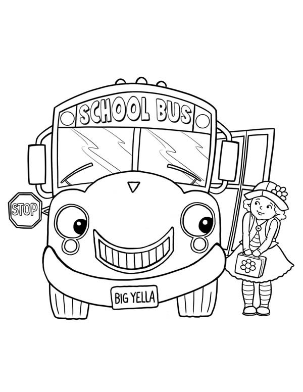 School Bus, : Friendly School Bus with a Big Smile Coloring Page