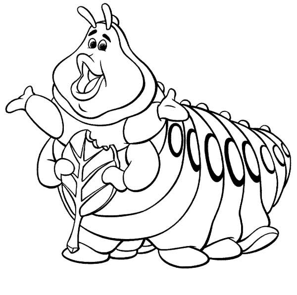 Caterpillars, : Heimlich - Bugs Life Green Caterpillar Coloring Page