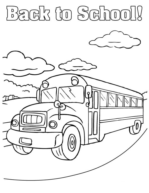 School Bus, : It is Back to School Time in School Bus Coloring Page