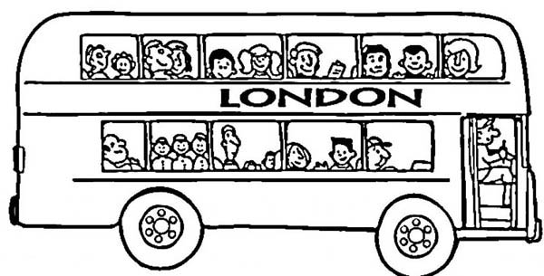 School Bus, : Its London Double Decker School Bus Coloring Page
