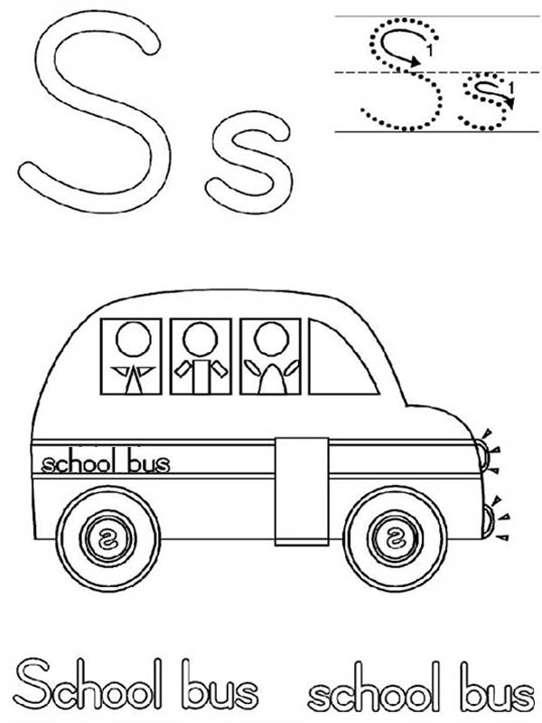 School Bus, : Learn Letter S for School Bus Coloring Page