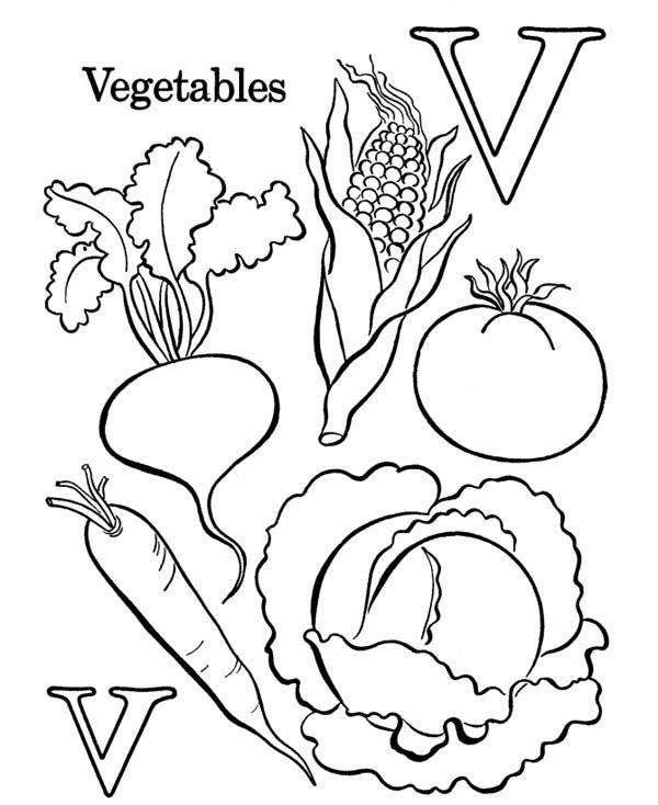 Fruits and Vegetables, : Learn Letter V for Vegetables Coloring Page