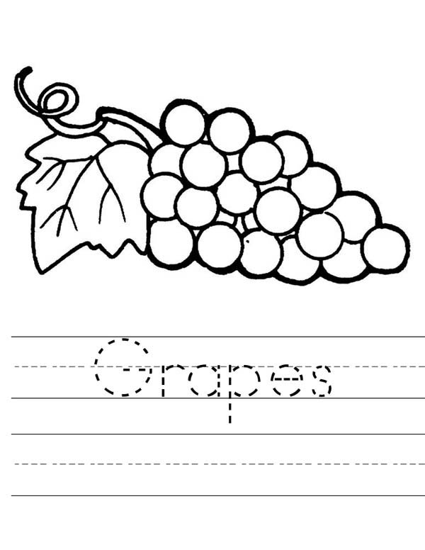 Fruits and Vegetables, : Learn to Spell Grapes Coloring Page