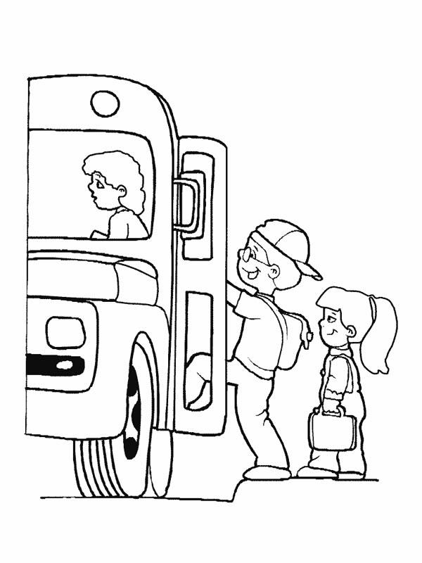 School Bus, : Lets Boarding the School Bus Coloring Page