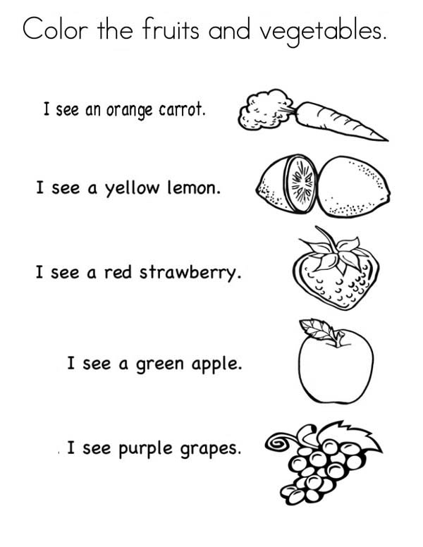 Fruits and Vegetables, : Lets Color the Fruits and Vegetables Coloring Page
