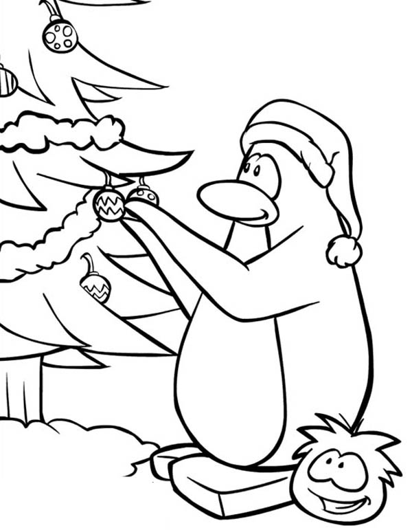 Penguins, : Lets Decorating Christmas Tree Say the Penguin Coloring Page