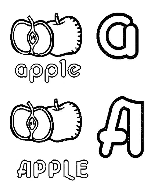 Fruits and Vegetables, : Letter A for Apple Coloring Page