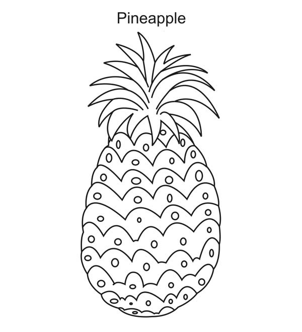 Fruits and Vegetables, : Pineapple - A Sweet Tropical Fruit Coloring Page