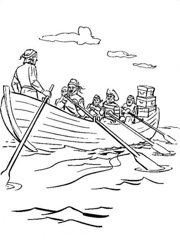 Pirate Ship, : Pirate Crews Riding Vessel with Treasures Coloring Page
