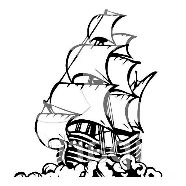 Pirate Ship, : Pirate Ship in Art Graphic Coloring Page