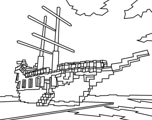 Pirate Ship, : Pirate Ship in Lego Style Coloring Page
