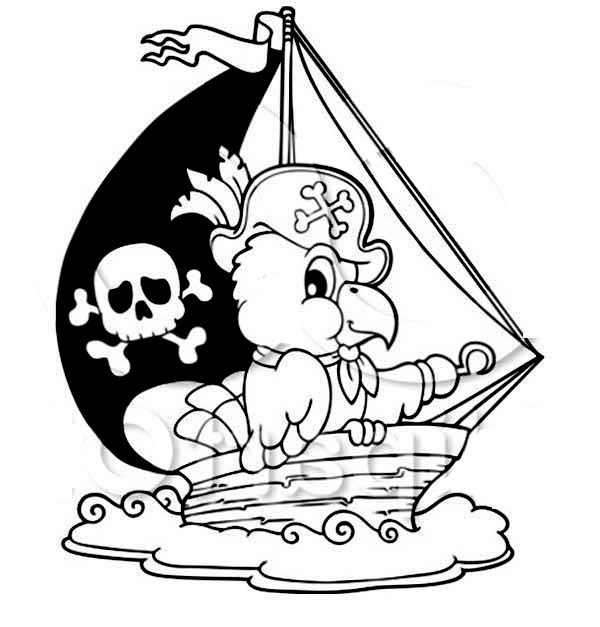 Pirate Ship, : Pirate Ship with Captain Parrot Coloring Page