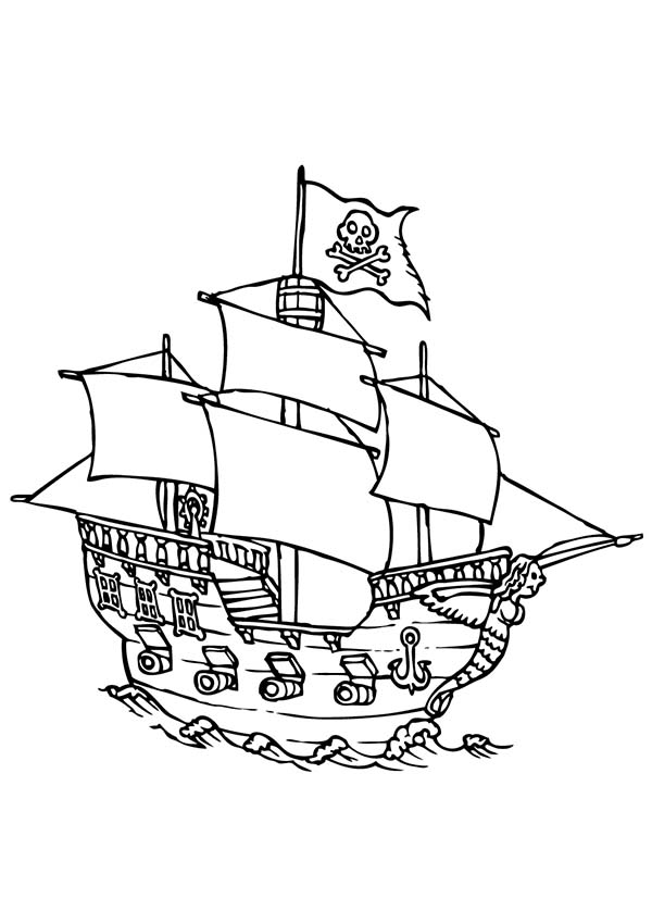 Pirate Ship, : Pirate Ship with Four Canon Ready to Fire Coloring Page
