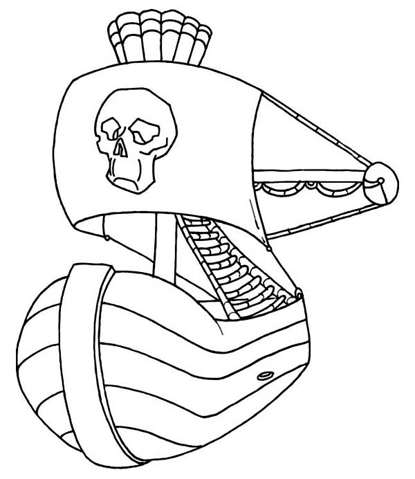 Pirate Ship, : Pirate Ship with Giant Skull Emblem Coloring Page