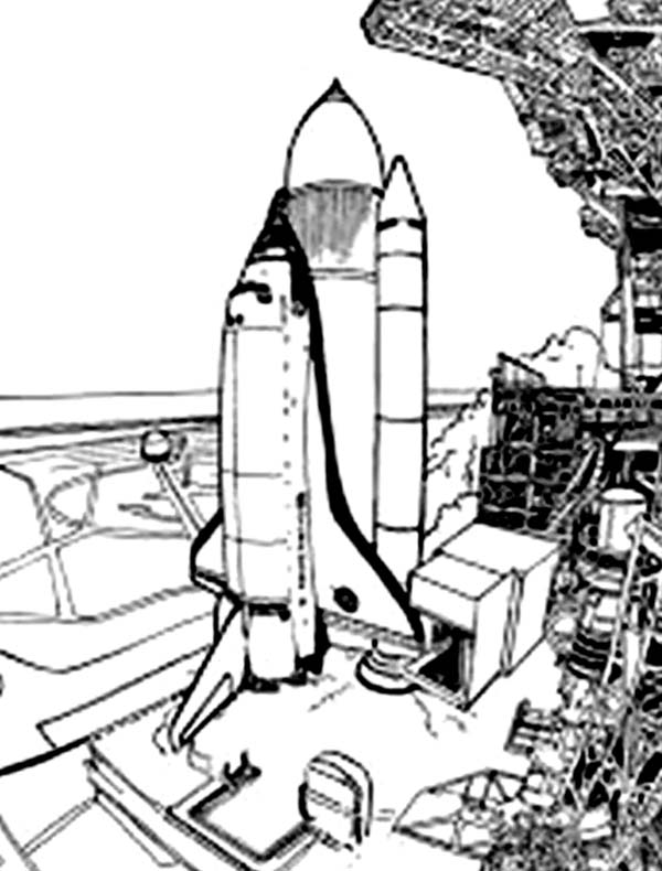Space Shuttle, : Preparation Before Space Shuttle Initial Launch Coloring Page