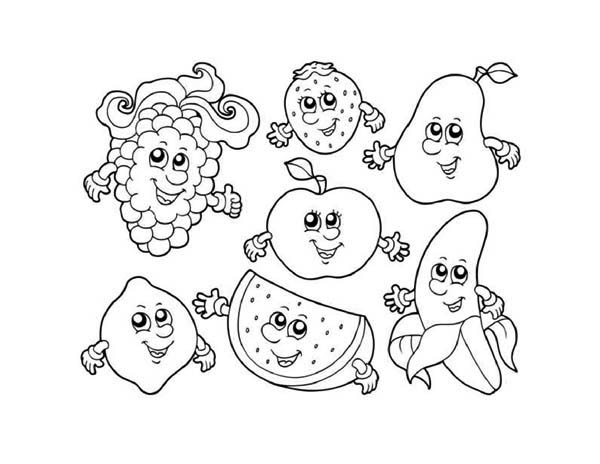 Fruits and Vegetables, : Seven Cute Fruits in Friendship Coloring Page