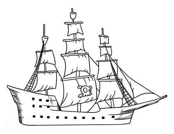 Pirate Ship, : Simple Pirate Ship Galleon Drawing from the Rear Coloring Page