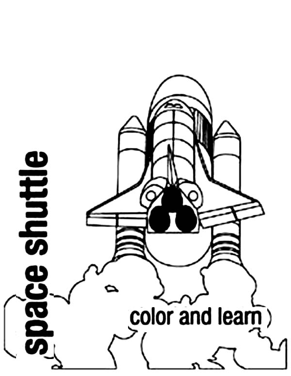Space Shuttle, : Space Shuttle Launched After the Countdown Coloring Page