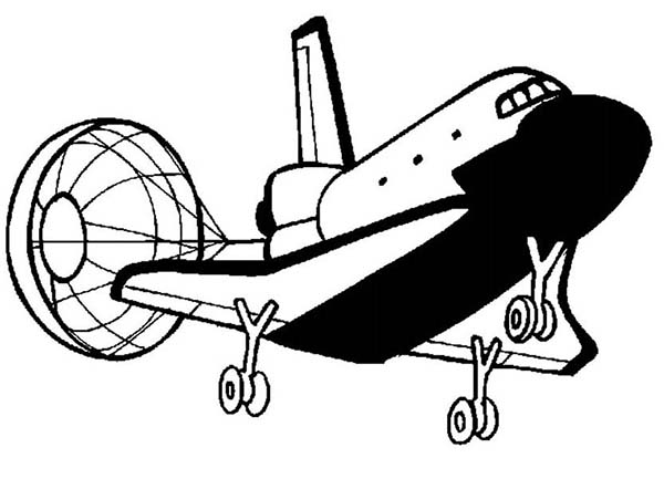 Space Shuttle, : Space Shuttle Open Its Parachute for Landing Coloring Page