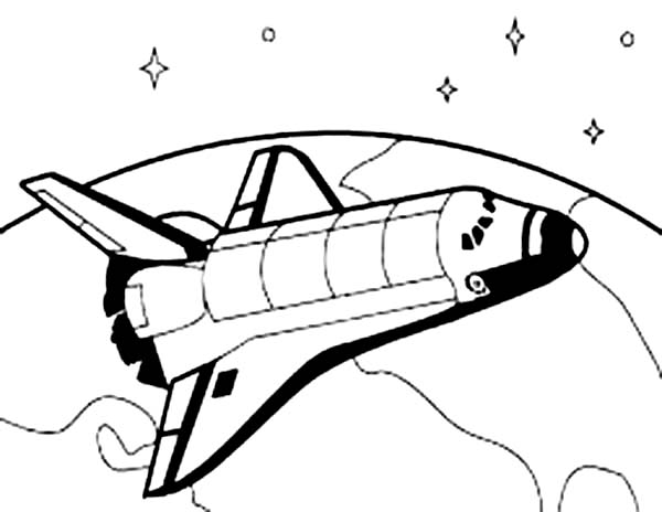 Space Shuttle, : Space Shuttle Orbiting the Earth Surface Coloring Page