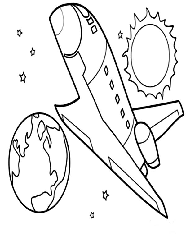 Space Shuttle, : Space Shuttle Reach the Orbit Coloring Page