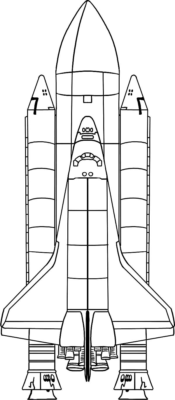 Space Shuttle, : Space Shuttle with External Tank and Rocket Booster Coloring Page