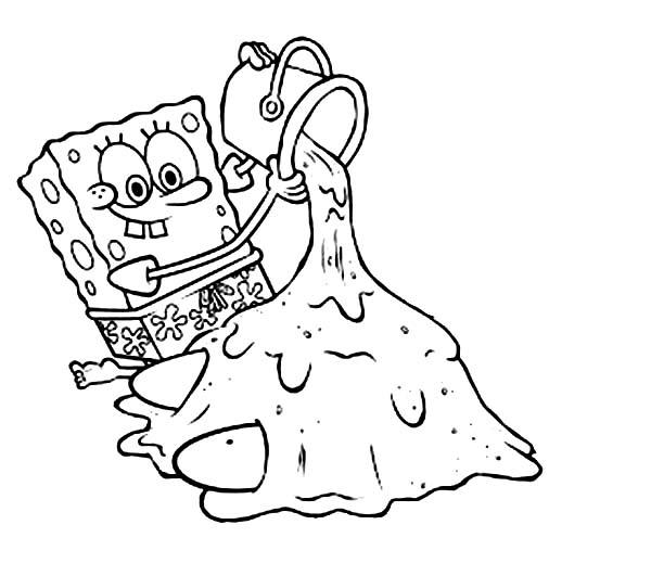SpongeBob SquarePants, : SpongeBob Playing Sand with Patrick Coloring Page