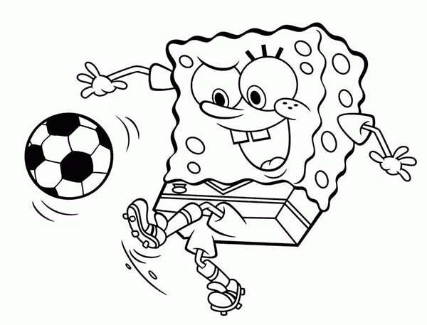 SpongeBob SquarePants, : SpongeBob Playing Soccer Coloring Page