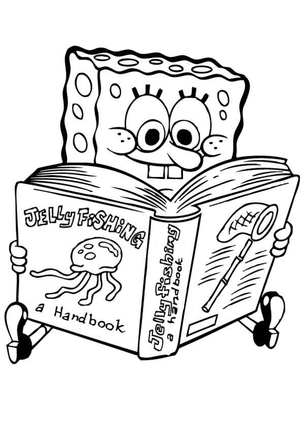 SpongeBob SquarePants, : SpongeBob Read Jellyfishing Handbook Coloring Page