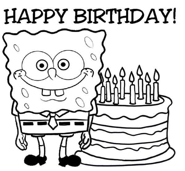 SpongeBob SquarePants, : SpongeBob Says Happy Birthday Coloring Page