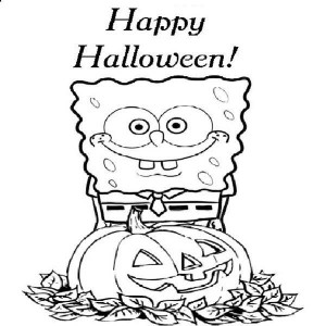 spongebob says happy halloween coloring page
