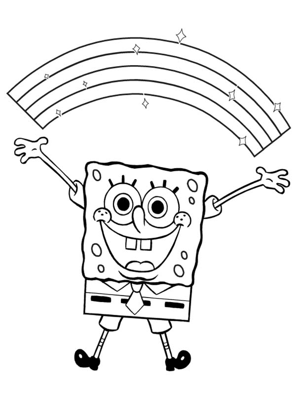 SpongeBob SquarePants, : SpongeBob with a Beautiful Rainbow Coloring Page